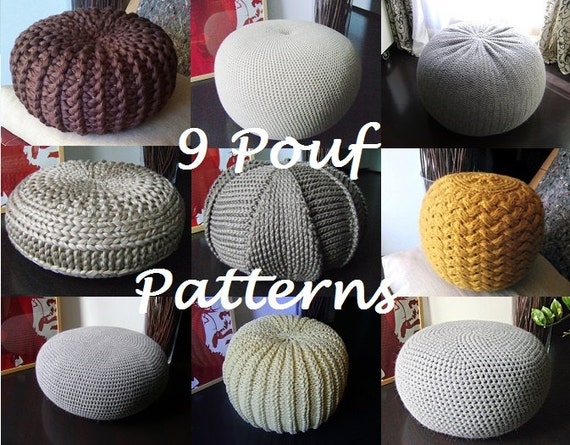 Crochet Pattern Knitting Pattern 9 Knitted & Crochet Pouf