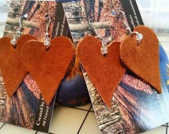 The 'Rustic Heart' Hand cut Suede Leather Dangle Earrings