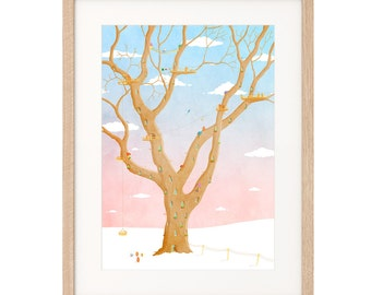 Winter Treehouse - Art Print - Archival inks & paper