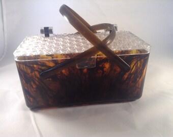 Tortoise Shell Lucite box purse mid century