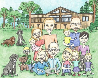 Hand-drawn Family Caricature