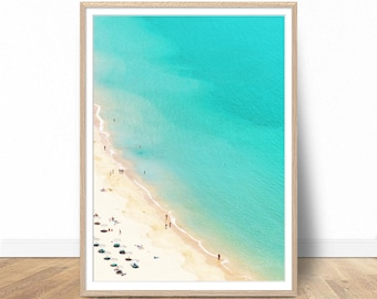 Aerial Beach Photography, Digital Download, Printable Beach, Beach Art Print, Modern Poster, Holiday Poster, Beach Wall Decor, Sea Wall Art
