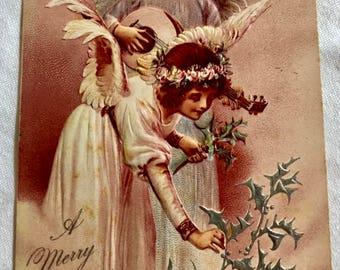 Vintage Christmas Postcard - Angel Children