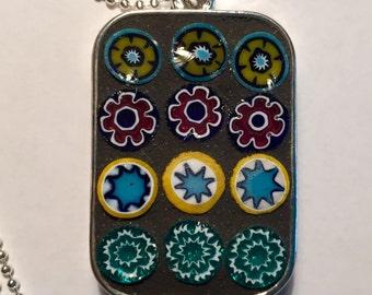 Mosaic Reversible Glass Millefiori Pendant Necklace Handmade Rectangle