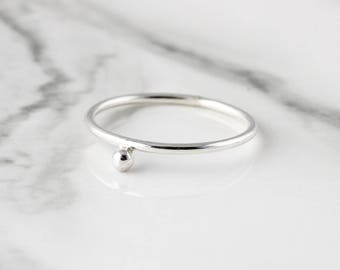Silver bead ring - recycled sterling silver ring