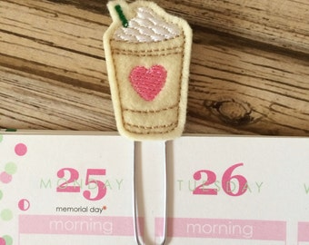 Coffee Planner Clip, Coffee Lovers Gift, Coffee Bookmark, Coffee Planner Accessories, Coffee Gift, Christmas Gift - Pink