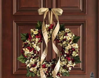 Wreaths | Hand Blended Hydrangea Wreath | Front Door Wreaths |  Wreath | Artisan Wreath | Housewarming Gift | Wreaths | Hostess Gift