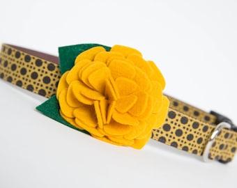 Fall Dog Collar with Flower - Gold Mum