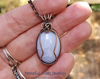 Blue Lace Agate Necklace Wire Wrapped Agate Pendant Antique Copper Wire Wrap Handmade Boho Hippie Artisan Jewelry