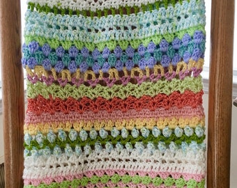 COLORFUL BABY BLANKET, Baby shower gift, crochet baby afghan,Hand made, one of a kind, Pastel Crib Blanket, Stroller blanket, loopsnswoops