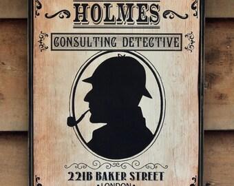Vintage style wooden sign 'Holmes' original design