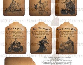Vintage Halloween Witch Fortune Teller Tag Digital Download Printable Collage Sheet Scrapbook Image