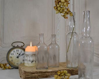 Set of 4 Old French Lemonade and Medicine Bottles - French Nordic, French Faded Romance,  French Brocante