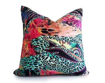 Teen Pillow Covers, Boho Pillows, Teenage Girl, 18x18 Throw Pillow, Colorful Pillow, Multicolor, Abstract, Pink, Orange, Blue, Green Pillows