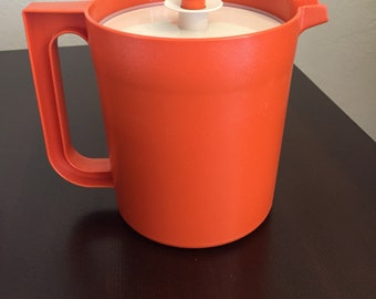 Vintage Tupperware Small Orange Pitcher with Lid
