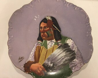 SOLD - Hand Painted Porcelain Antique Vintage Native American Indian Portrait Dish Plate Limoges Coronet Signed Luc