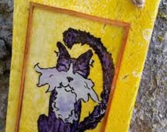 Cat painting, Funny cat, cat art, cat illustration, Nursery decor, ORIGINAL PAINTING Small wall decor tuxedo Cat reverse painting