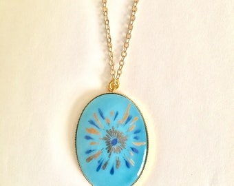 Vintage Gold and Blue Firework Necklace, Cameo Necklace, Gold and Blue Necklace