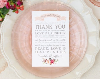Reception Thank You Cards in Blush Watercolor Floral Design - Wedding Thank You Cards - Blush Reception Thank You Cards