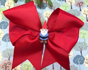 Red garden gnome bow