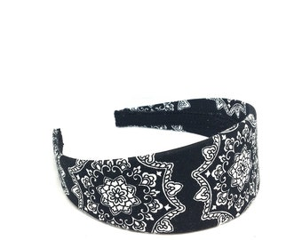 Floral Headband - Preppy - Black and White Floral Medallions Headband - Choose width from Skinny to Wide - Girls Headbands, Adult Headbands