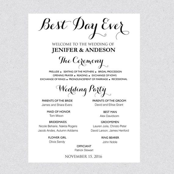 Printable Wedding Program Sign Template Wedding Poster - Wedding program sign template