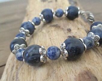 jewelry, Bracelet Sodalite beads 8 mm and 12.