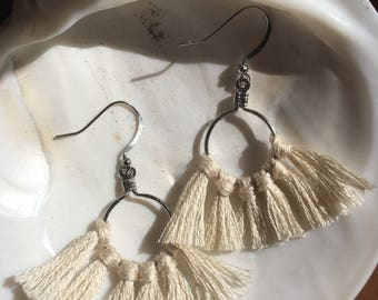 White pearl /tassel earring/ cotton/ brass