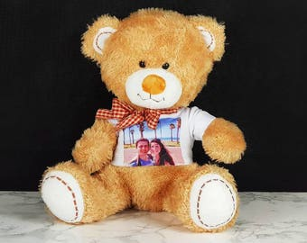 Personalised Teddy Bear with printed T-shirt, custom teddy bear, I love you bear, birthday bear, baby bear, wedding bear, ring bear