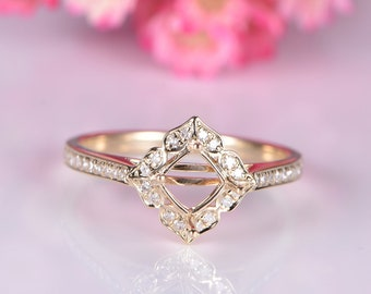14k yellow gold semi mount diamond engagement ring setting vintage floral style promise ring custom handmade jewelry