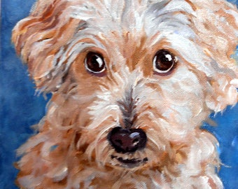 "Mother's Day Custom Pet Portrait Oil Paintings, 4"" x 4"" with tabletop easel"