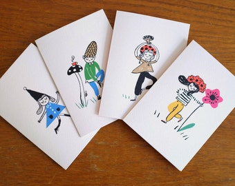Scandinavian Gnomes / Pack of 4 Portrait Greeting Cards