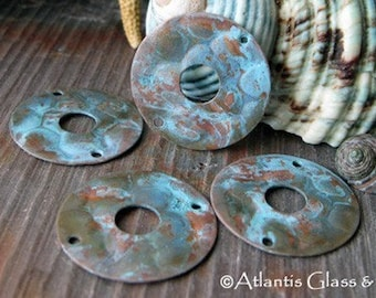 AGB copper jewelry findings bubble pattern 22mm donut links verdigris patina Maro 2 pieces