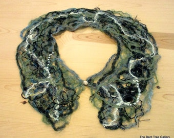 Fiber Art Collar in Green and Ivory Abstract OOAK by The Bent Tree Gallery