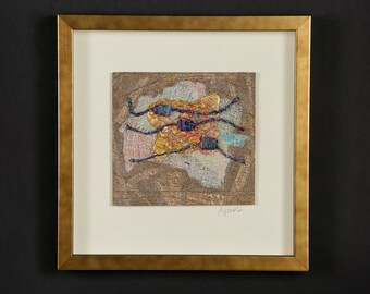 """Fiber art, framed, contemporary art, natural & synthetic fibers, embroidery, stitching, one of a kind, decor,""""Me!MeMe!"""""""