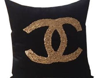 Glitter handmade Fancy Gold Black Color luxury pillow cover case,fabric, wedding Gift for her, Decorative Throw  Pillow for sofa
