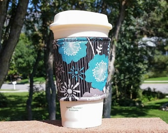 FREE SHIPPING UPGRADE with minimum -  Fabric coffee cozy / cup holder / coffee sleeve - Flowers Andrea Victoria by Riley Blake