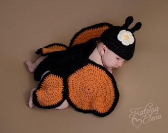 Newborn Butterfly Prop/ Baby Butterfly/ Woodland Nursery/ Spring Baby Prop/ Baby Shower Gift/Baby Girl Prop/Garden Theme Nursery/ Monarch