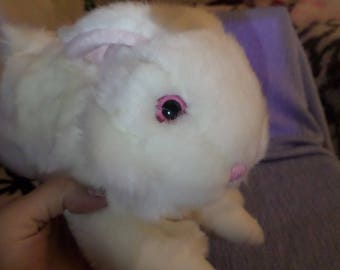 """Vintage Dandee Bunny plush White Pink eyes nose round head 14"""" running jumping position"""