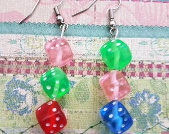 Handmade Earrings Featuring 3 Dice for Each Lobe that Dangle
