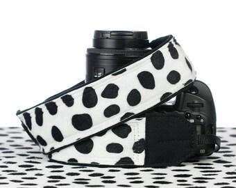 Dalmatian Camera Strap, dSLR, SLR, Faux Fur, Mirrorless, Canon Strap, Nikon Strap, Replacement camera strap, Camera Neck Strap, 242