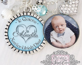 Personalized ABUELITA NECKLACE- Grandma Grammy Gift (or Keychain), I love you Gift- Photo Necklace-Baby, Grandma Jewelry Children's Names
