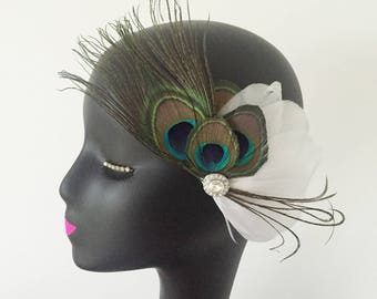 Feather Fascinator Hair Clip Headband Wedding 20s Gatsby Party Vintage Headpiece