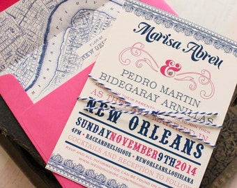 Typography Wedding Invitation (New Orleans) - Design Fee