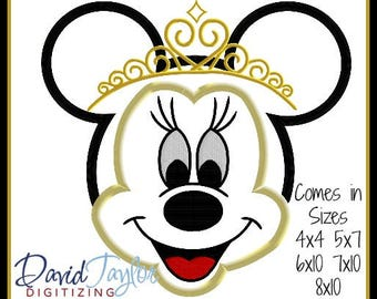 Minnie Mouse Tiara Embroidery Design 4x4 5x7 6x10 7x10 8x10 in 9 formats-Applique Instant Download-DTDigitizing Princess Queen Mickey Head
