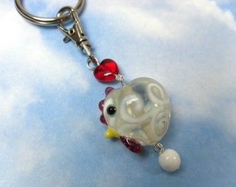 Bok bok Keychain -clear lampwork glass chicken & egg and red heart on key ring -Free Shipping USA