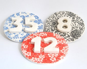 Address Sign with House Numbers, Circular Ceramic  Outdoor Sign with Decals in Three Colors, Custom Signs with Numbers. Made By Order