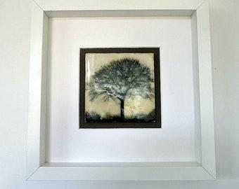 Encaustic Art - Beeswax - Framed Tree Tile