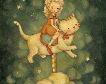 Children's Art - The Kitty Carousel Print 5x7 / 6x8 - Nursery Art, Girl, Kitten, Cat, Night, Bedtime, Stars, Cute, Blue, Cream, Yellow, Red