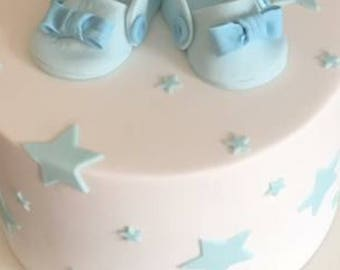 Baby bootees/shoes cake topper
